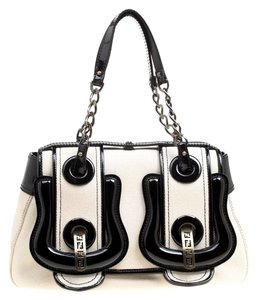 Fendi Canvas Patent Leather Shoulder Bag