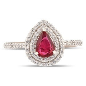 Platinum 0.78ct Natural Ruby and 0.26ctw Diamond Ring
