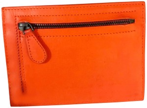 b0449ab98c88 Bottega Veneta Neon Coral Orange Intrecciato Zip Card Case   Holder   Wallet