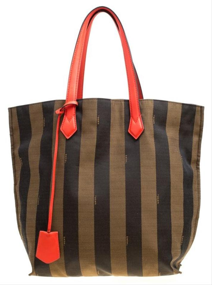 aca61a7f710a Fendi Tobacco Coral Red Pequin Striped and Leather Brown Canvas Tote ...