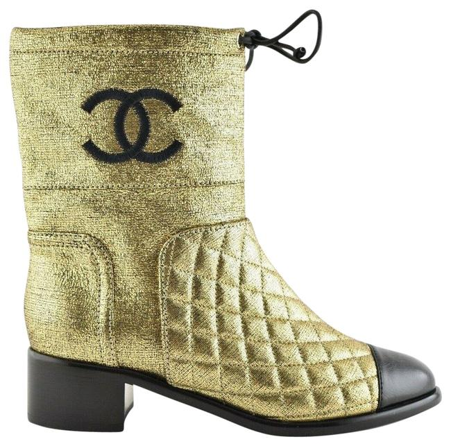 Chanel Gold Drawstring 18b Black Quilted Metallic Leather Cc Logo Boots/Booties Size EU 36 (Approx. US 6) Regular (M, B) Chanel Gold Drawstring 18b Black Quilted Metallic Leather Cc Logo Boots/Booties Size EU 36 (Approx. US 6) Regular (M, B) Image 1