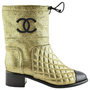 Chanel Tweed Glitter Quilted Chain gold Boots