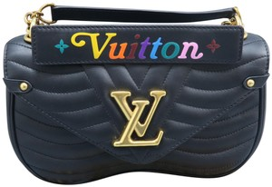 1fb4c1f6a030 Louis Vuitton New Wave Mm Black Calfskin Leather Shoulder Bag - Tradesy