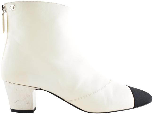 Item - Ivory 18b White Black Lambskin Leather Cc Silver Heel Short Ankle Boots/Booties Size EU 37 (Approx. US 7) Regular (M, B)