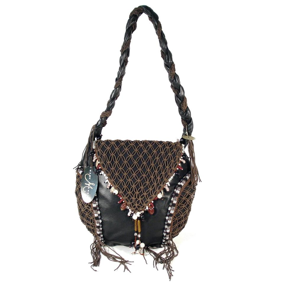 fe09525a06 Mary Frances Boho Leather Hippie Beaded Macrame Shoulder Bag Image 0 ...