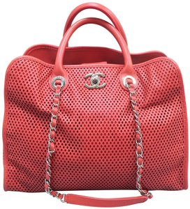 Chanel Up In The Air Calfskin Perforated Satchel in Coral