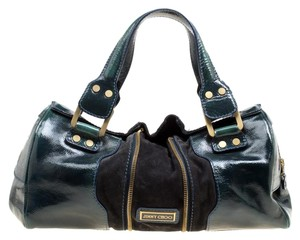 Jimmy Choo Patent Leather Suede Satchel in Green