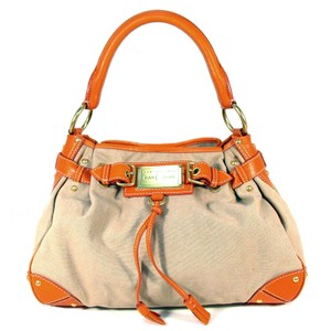 The Original Car Shoe Linen Leather Slouchy Satchel in Orange