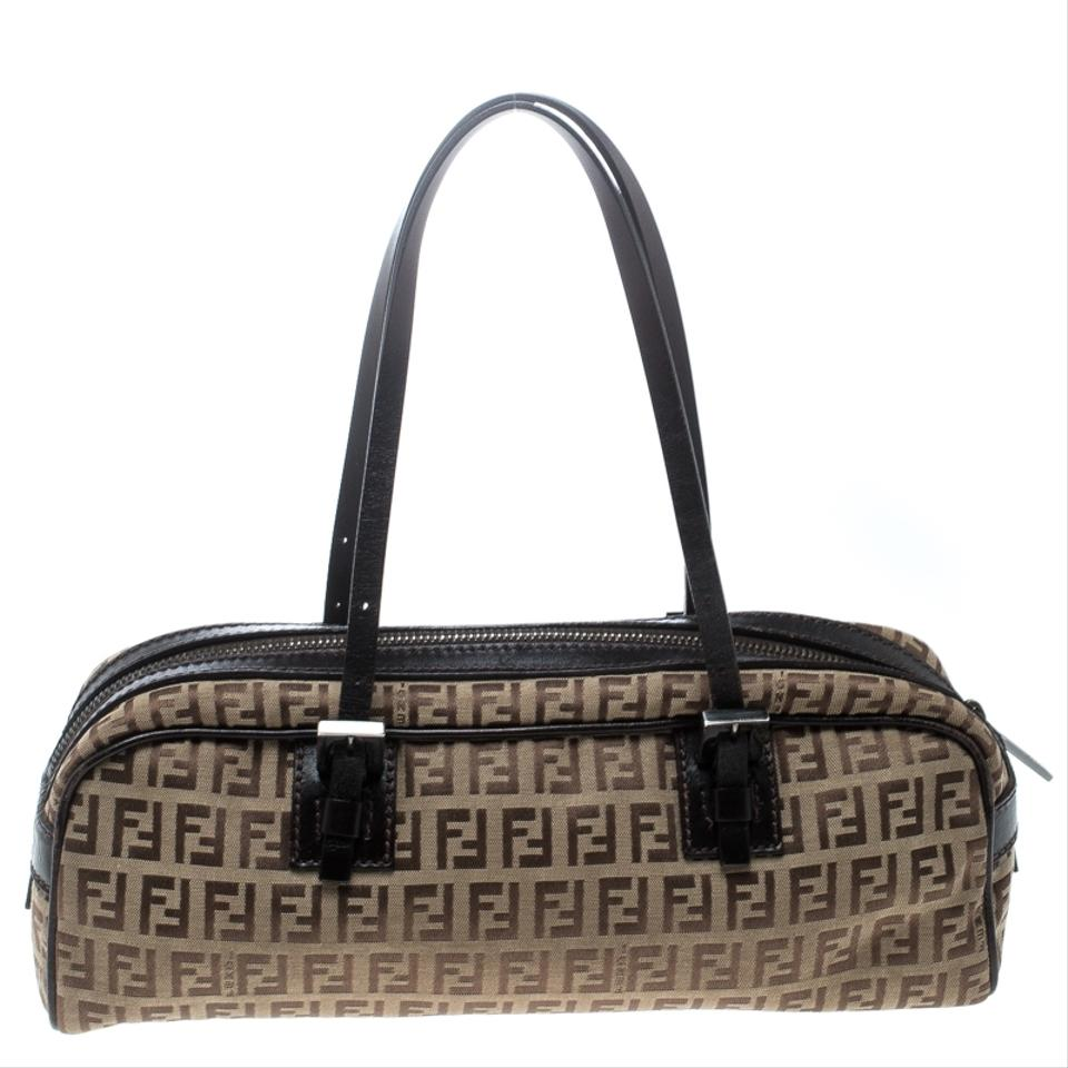 d430d84426c1 Fendi Zucchino and Leather Bowler Brown Canvas Shoulder Bag - Tradesy