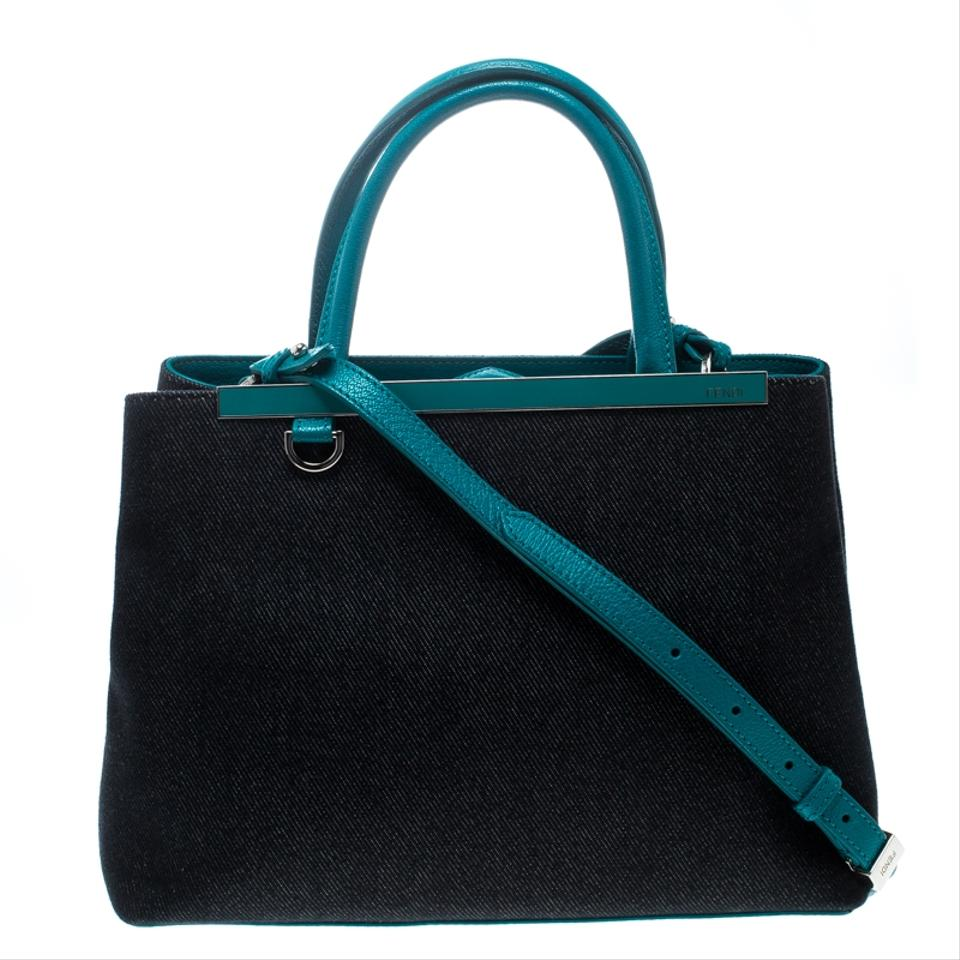 Fendi Blue Green Denim and Petite 2jours Top Handle Blue Green Leather  Shoulder Bag 64159279c50a