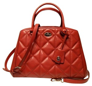 52046f3ff Coach Carryall Quilted Convertible Satchel in Red/Gold