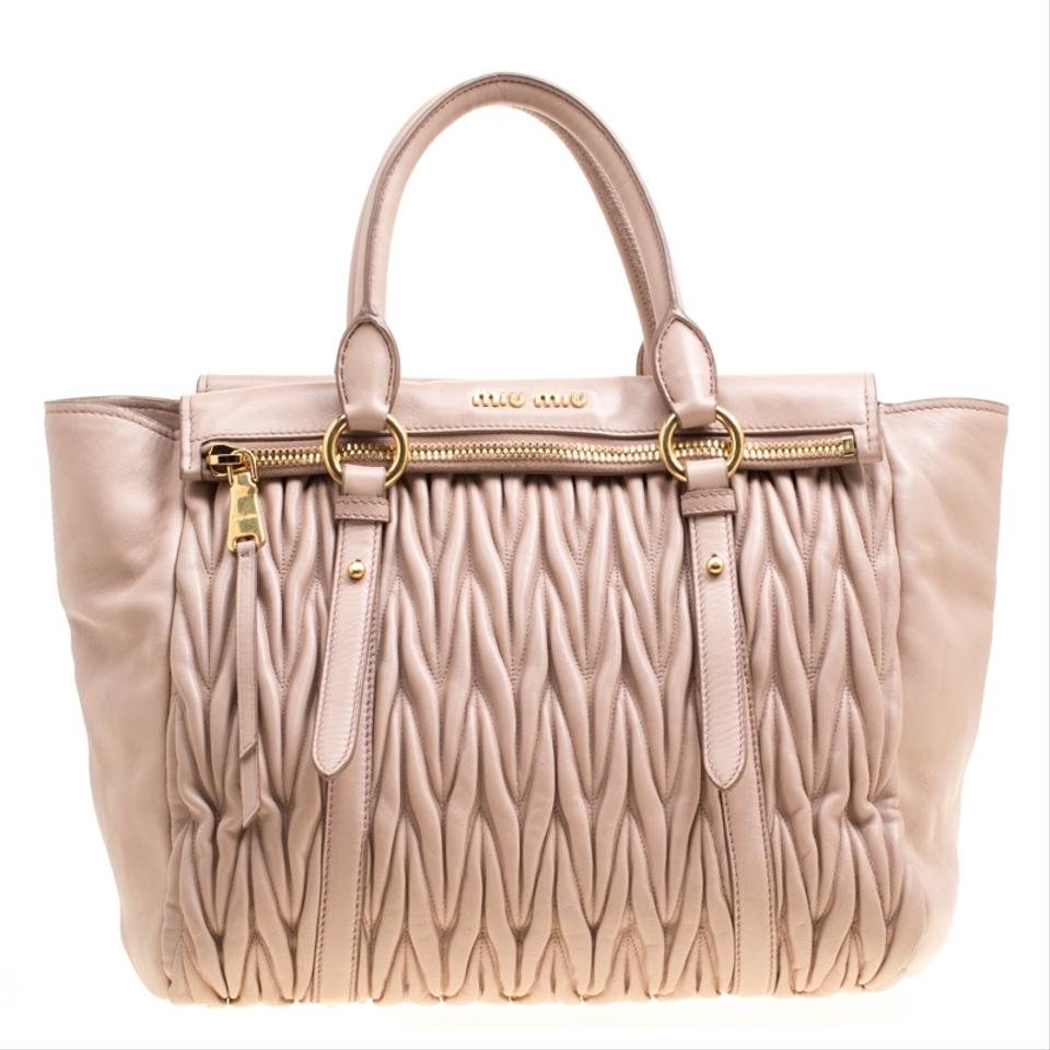 518afc1bf817 Miu Miu Matelasse Top Handle Beige Leather Shoulder Bag - Tradesy