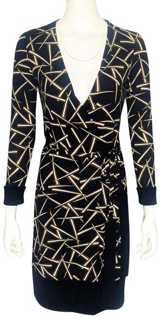 Item - Black Brown & White Jersey 'taina' Print Silk Solid Border Wrap Mid-length Work/Office Dress Size 4 (S)
