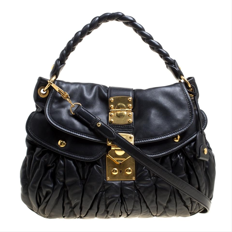8654f61f8c Miu Miu Matelasse Leather Coffer Black Hobo Bag - Tradesy