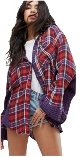 Item - Multi-color One Of The Guys Plaid Oversized Tunic Shirt Button-down Top Size 12 (L)