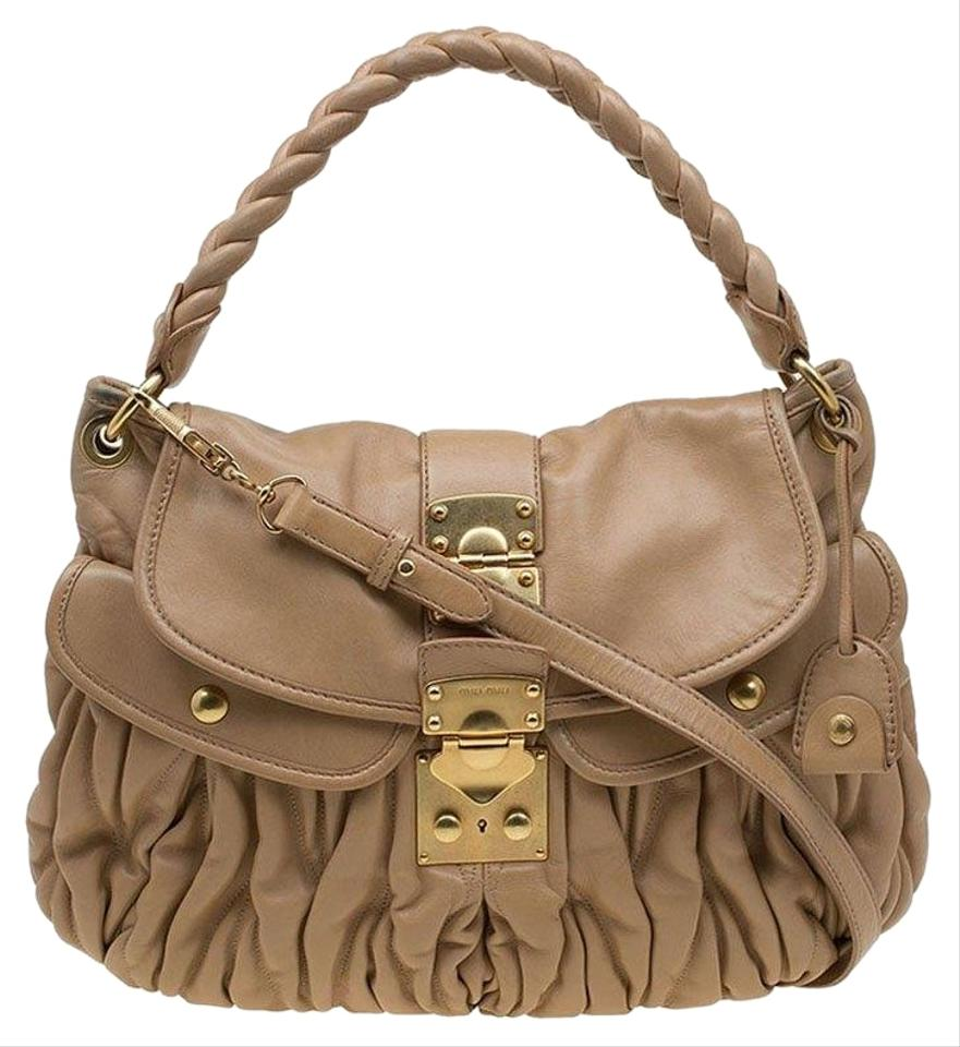 f91132d4bfa0 Miu Miu Matelasse Brown Leather Hobo Bag - Tradesy