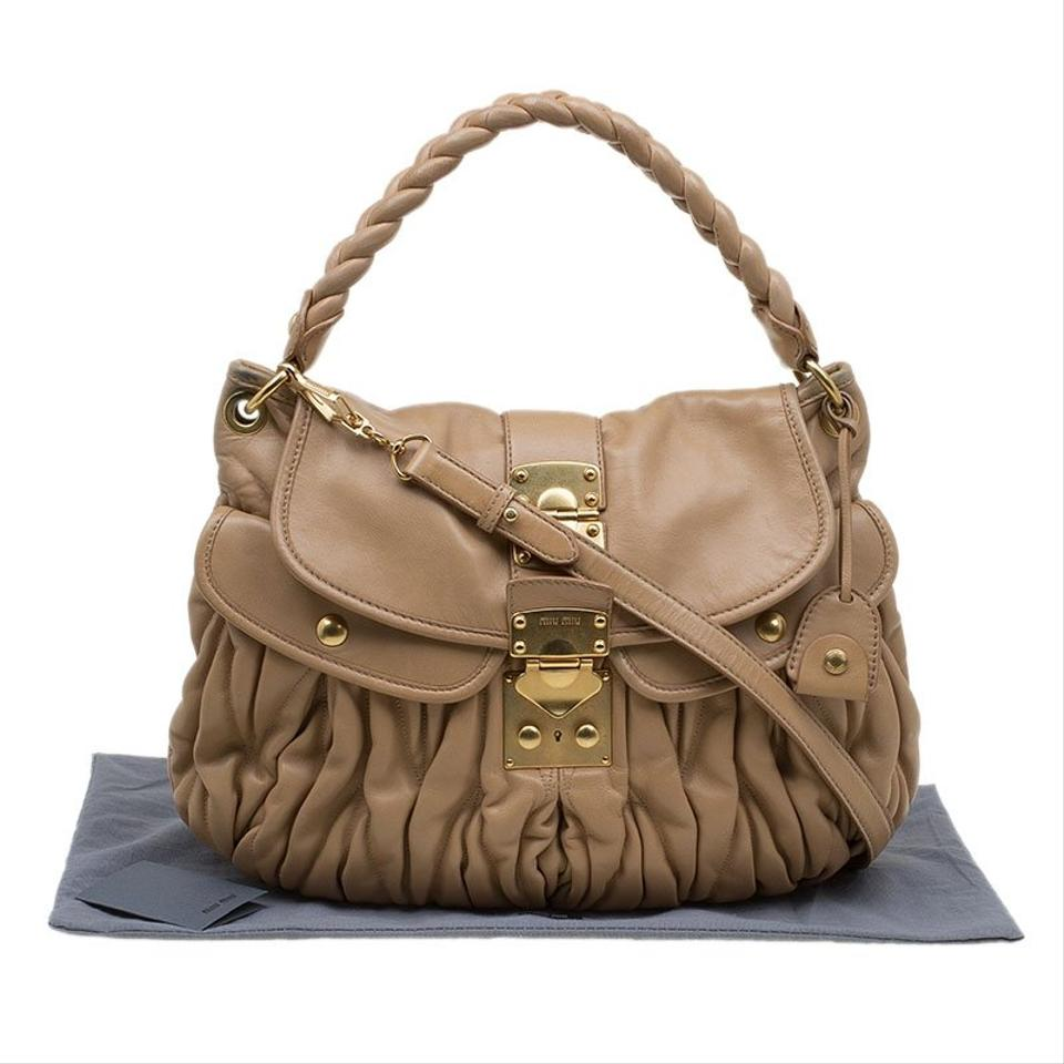 9bfe336a1821 Miu Miu Matelasse Brown Leather Hobo Bag - Tradesy