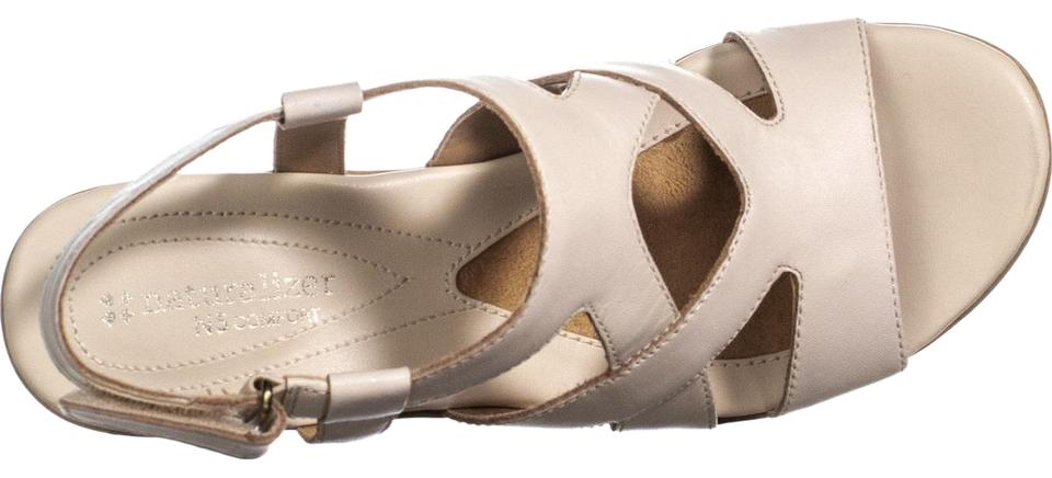 be6cee0d5c81 Naturalizer Beige Tanner Peep Toe Strappy Sandals Pale Ivory Wedges ...