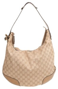 Gucci Leather Metallic Monogram Hobo Bag