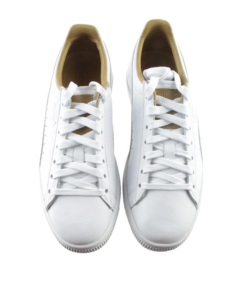 on sale 42c86 cd2c7 Puma White Women's Clyde Leather Low Sneakersx (166768) Formal Shoes Size  US 8.5 Regular (M, B)