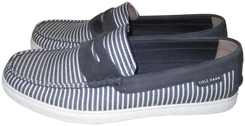 6b9ada548a3 Cole Haan Navy White Stripes Men s Nantucket Penny Loafers Flats ...