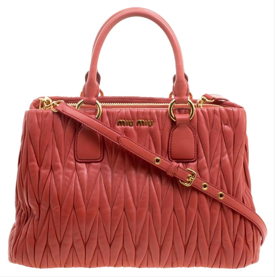 0f617c238ba9 Miu Miu Matelasse Shopper Red Leather Tote - Tradesy