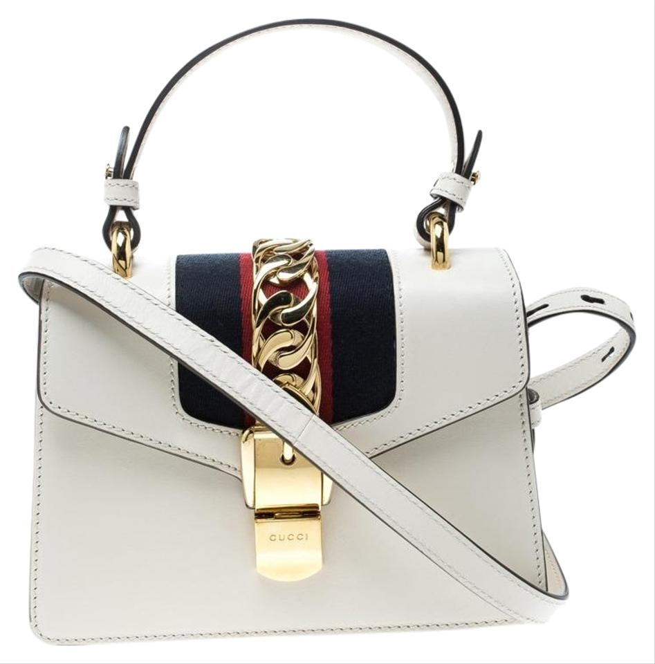 7c80b52ce91 Gucci Sylvie Off Mini Top Handle White Leather Shoulder Bag - Tradesy