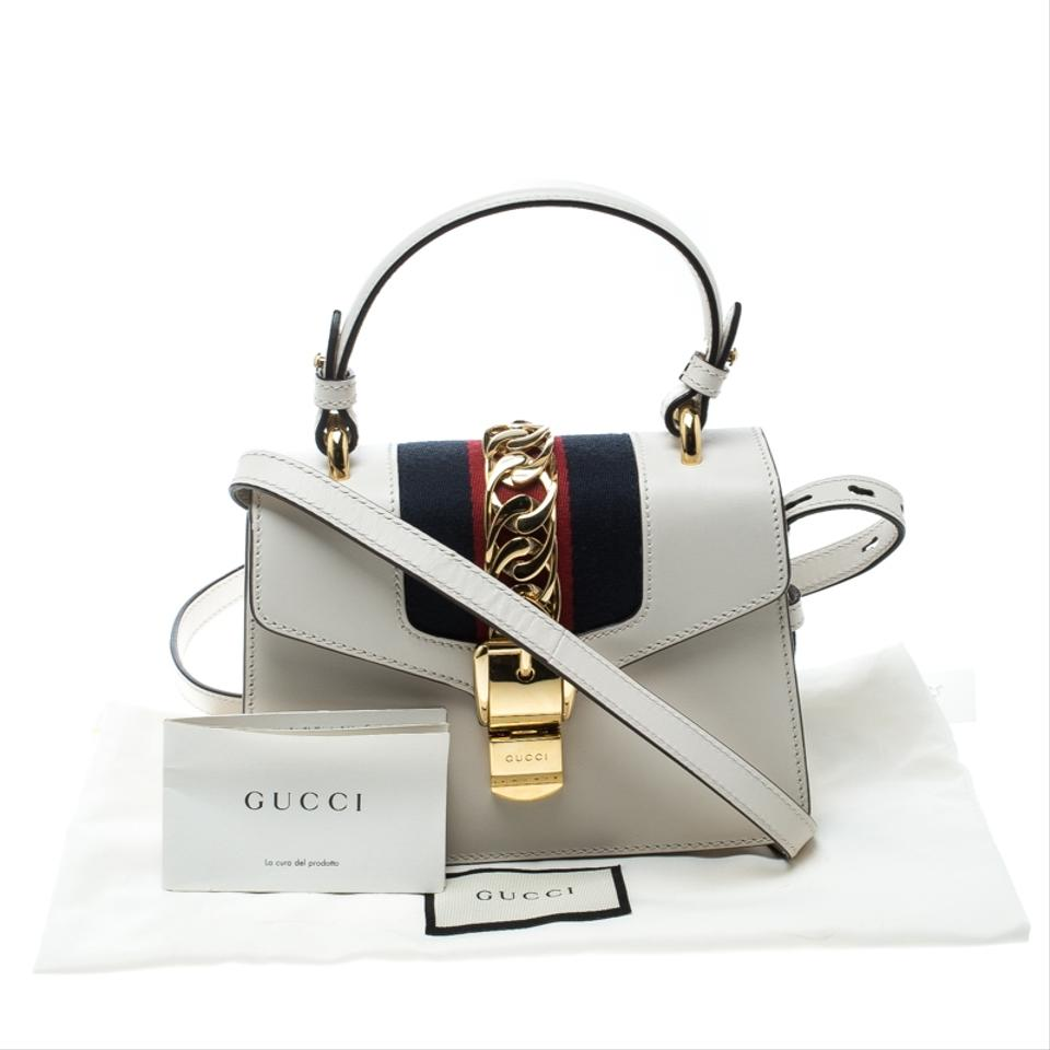 68c0ca09dfb9 Gucci Sylvie Off Mini Top Handle White Leather Shoulder Bag - Tradesy