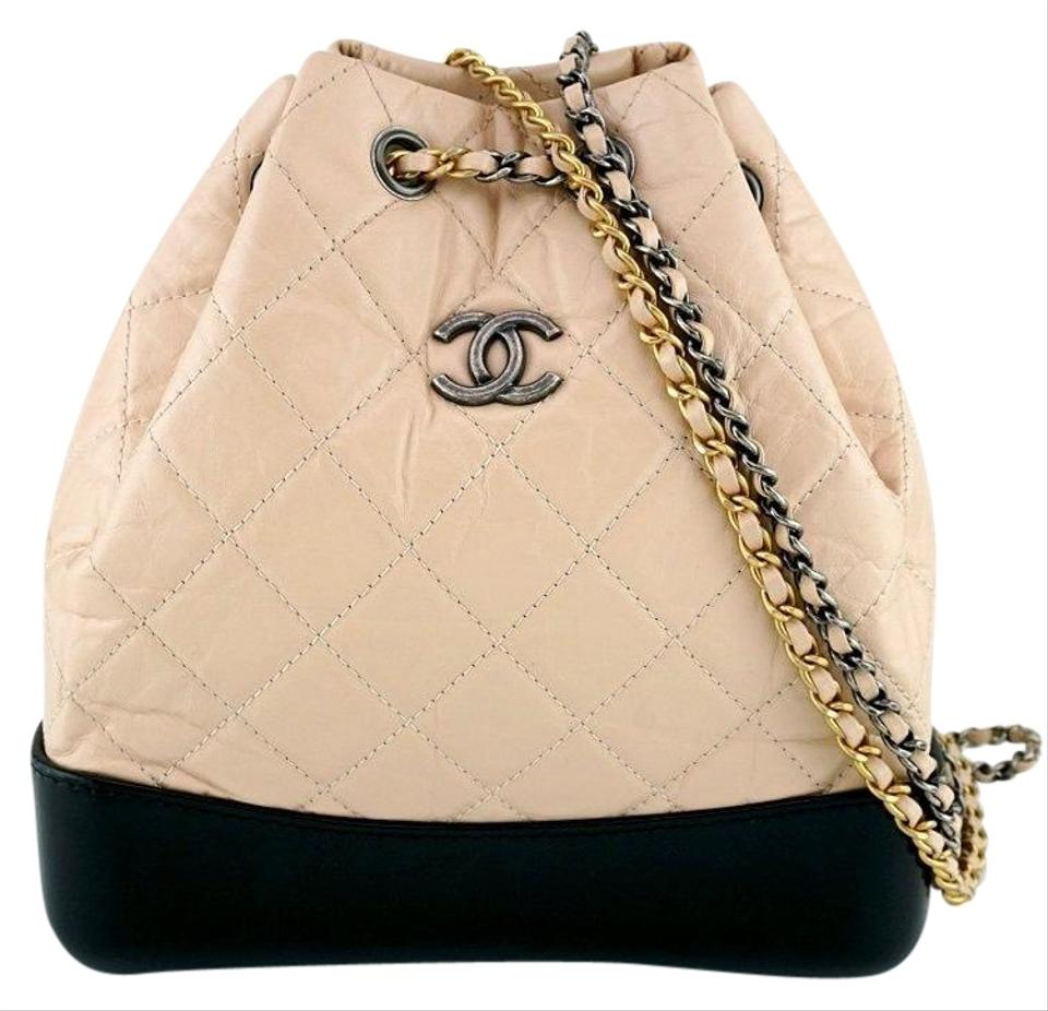 5def53babbca Chanel Gabrielle Backpack Small Beige and Black Calfskin Leather ...