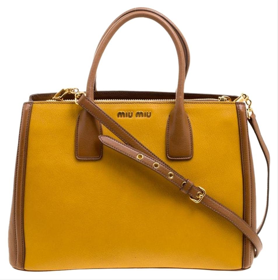 Miu yellow brown convertible yellow leather tote tradesy jpg 953x960 Miu  yellow bag 96a2a876aafaf