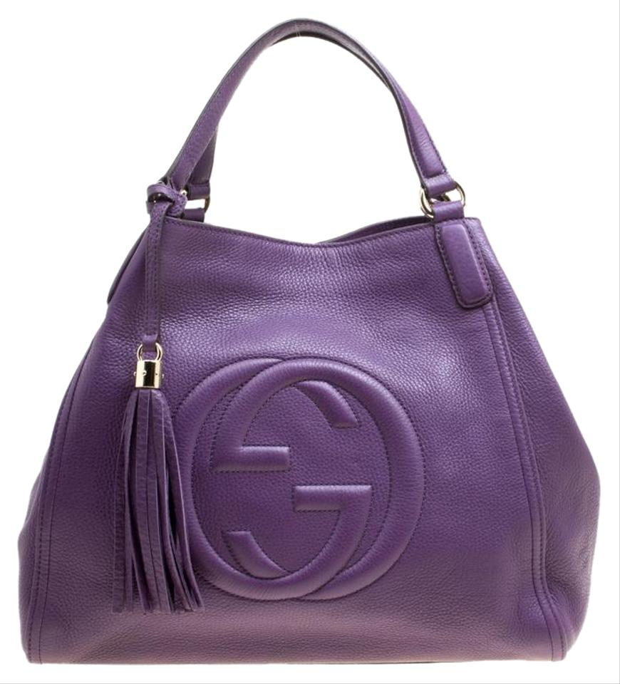 34ae0b408ed97 Gucci Soho Pebbled Medium Purple Leather Hobo Bag - Tradesy