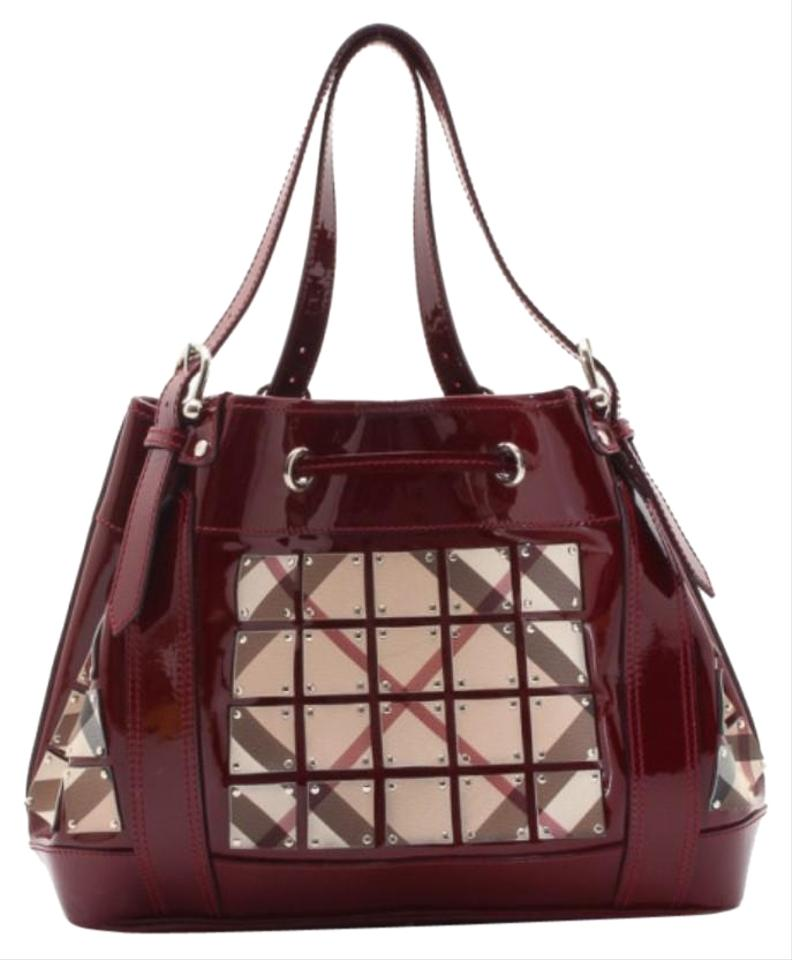 Burberry Nova Check and Black Large Warrior Red Leather Tote - Tradesy a1293c6f79f23