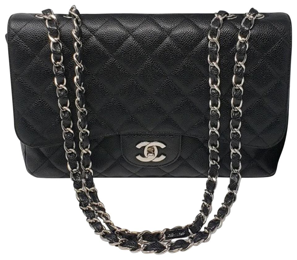 50e4aa60a2cfba Chanel Classic Jumbo Silver Single Flap Black Caviar Shoulder Bag ...
