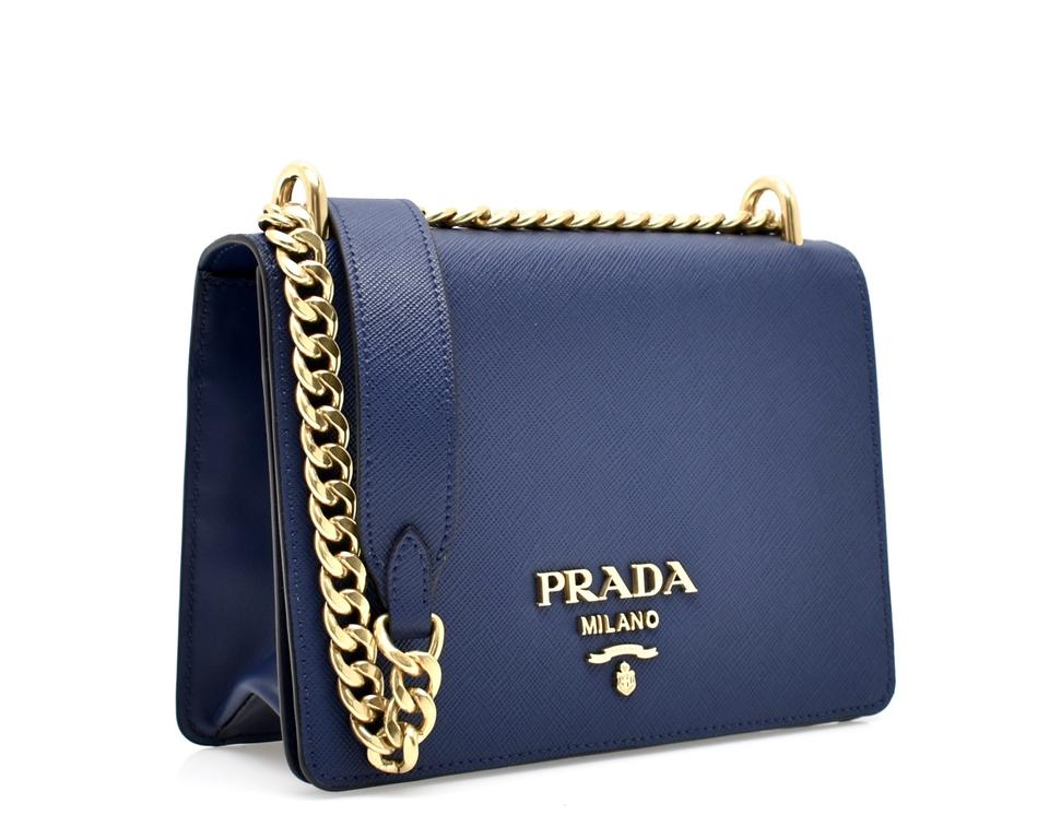 d0b6f1cf416e97 Prada Pattina Shoulder Chain Blue Saffiano Leather Cross Body Bag ...