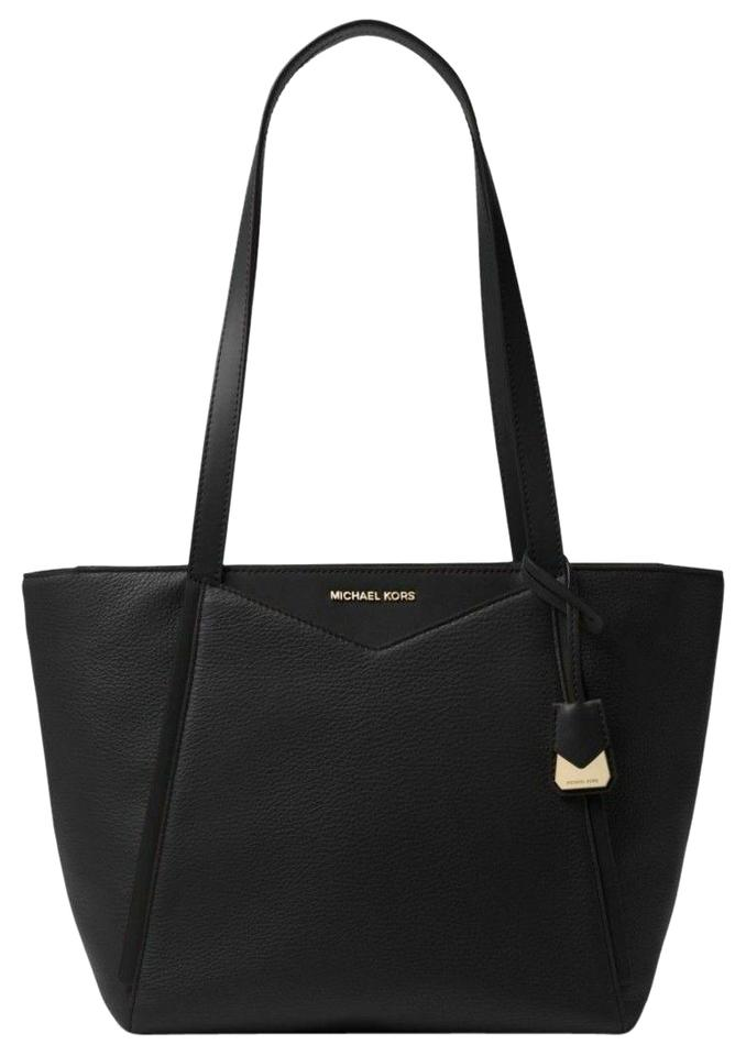c2ce4d417fdb Michael Kors Whitney Small Pebbled Top Zip Black Leather Tote - Tradesy
