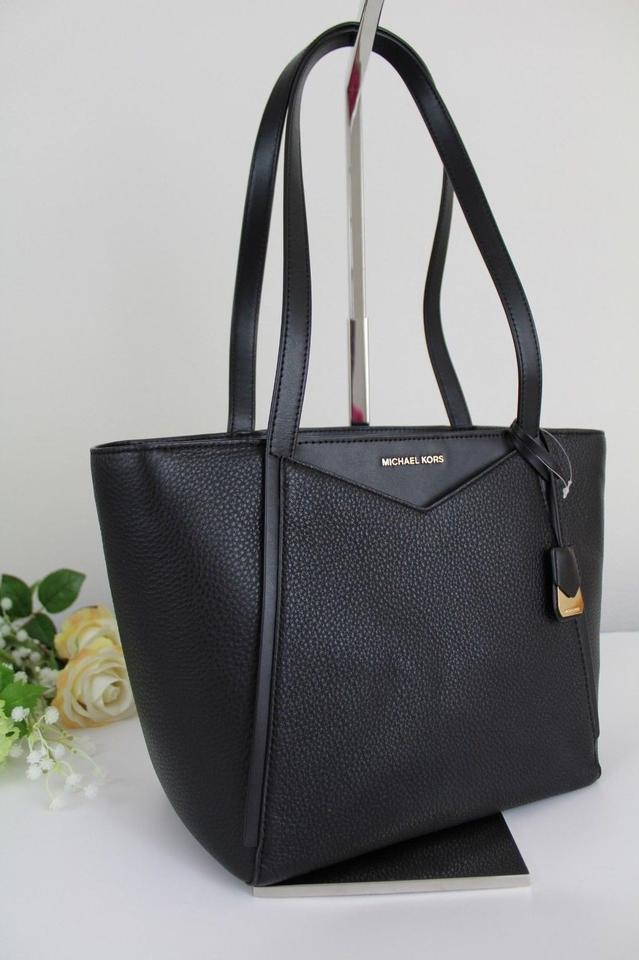 6196b2152065 Michael Kors Whitney Small Pebbled Top Zip Black Leather Tote - Tradesy