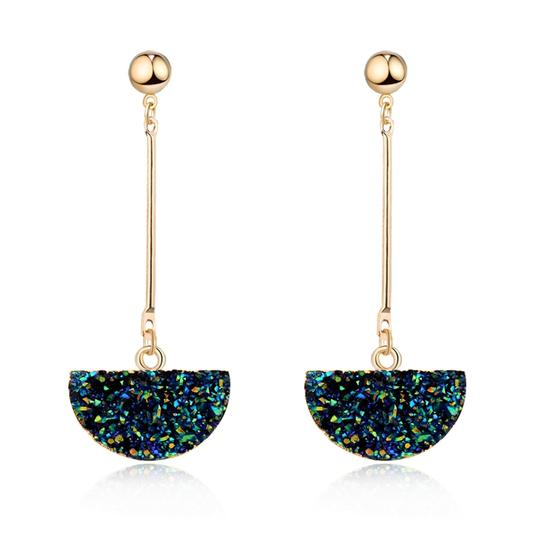 Private Collection Druzy Half Circle Hanging Earring Image 2