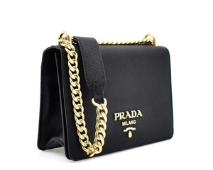 2f7ce0178b7e Prada Pattina Chain Shoulder Black Saffiano Leather Cross Body Bag ...