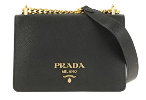 Prada Calfskin Leather Gold Hardware Shoulder Bag