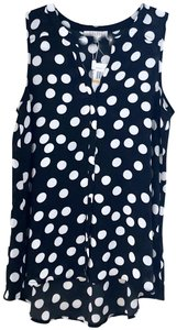 26870c843fc Spense Sleeveless Polka Dot Top Black White