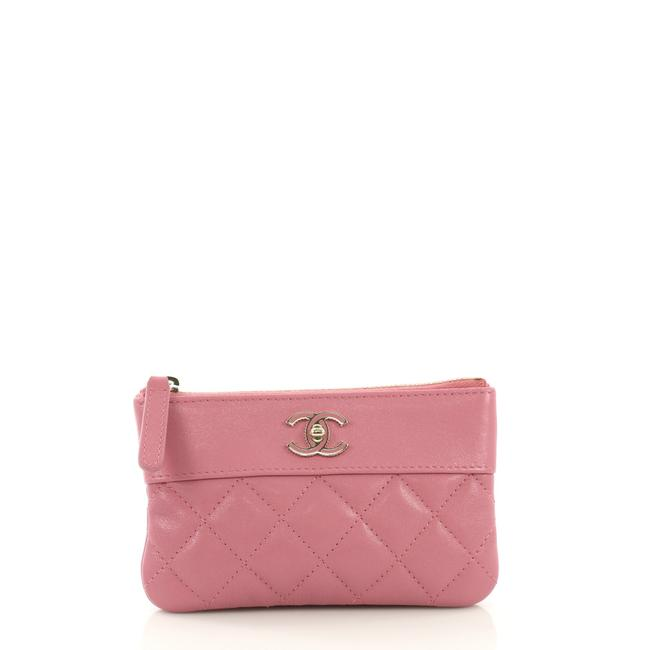 Item - Mademoiselle Vintage O Case Quilted Sheepskin Mini Pink Faux Leather Clutch