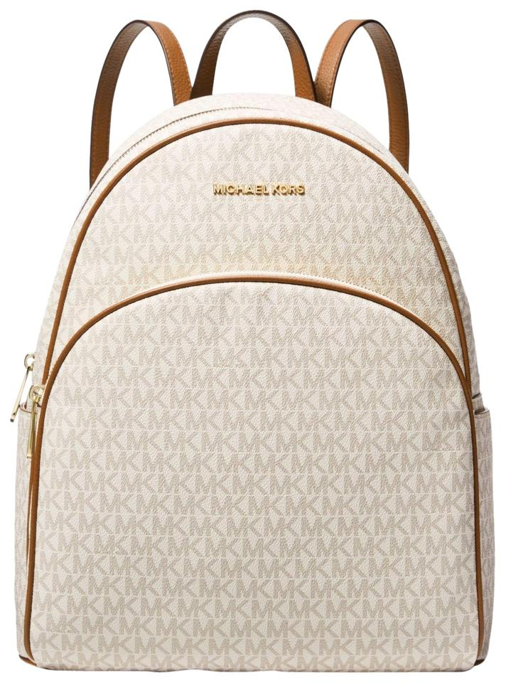 fb5a43546638 Michael Kors Abbey Large Logo Signature Mk Vanilla/Acorn Leather ...