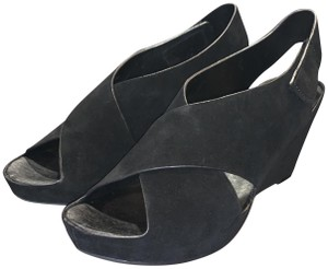 Johnston & Murphy Leather Crisscross Strap Velcro Suede Black Wedges