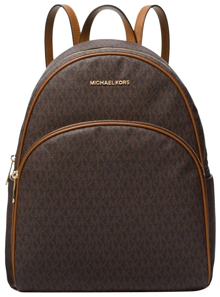 0fe2fc3f0b19 Michael Kors Abbey Large Logo Signature Mk Brown/Acorn Leather ...
