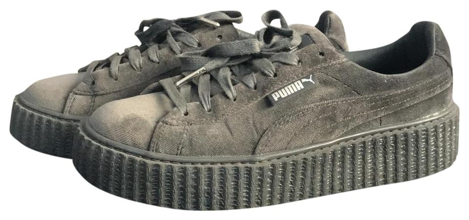 8050c2e1e38 FENTY PUMA by Rihanna Dark Grey Creeper Velvet Sneakers Size US 7 ...
