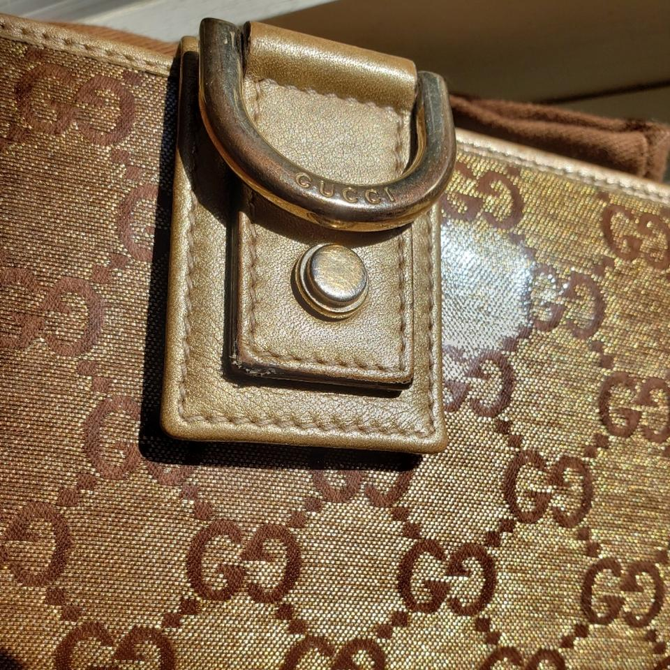 dc173689c26d Gucci Gold and Brown Crystal Gg Signature D Ring Wallet - Tradesy