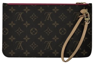 Louis Vuitton Lv Neverfull Neverfull Pouch Monogram Clutch Wristlet in Brown