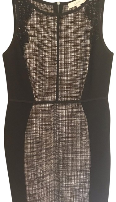Ann Taylor Loft Black And White Tweed Mid Length Cocktail