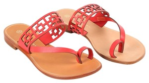 Trina Turk Square Tile Geometric Leather Thong Cherry Red Sandals
