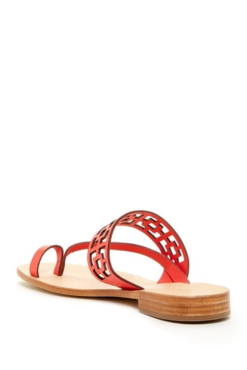 Trina Turk Square Tile Geometric Leather Thong Cherry Red Sandals Image 1